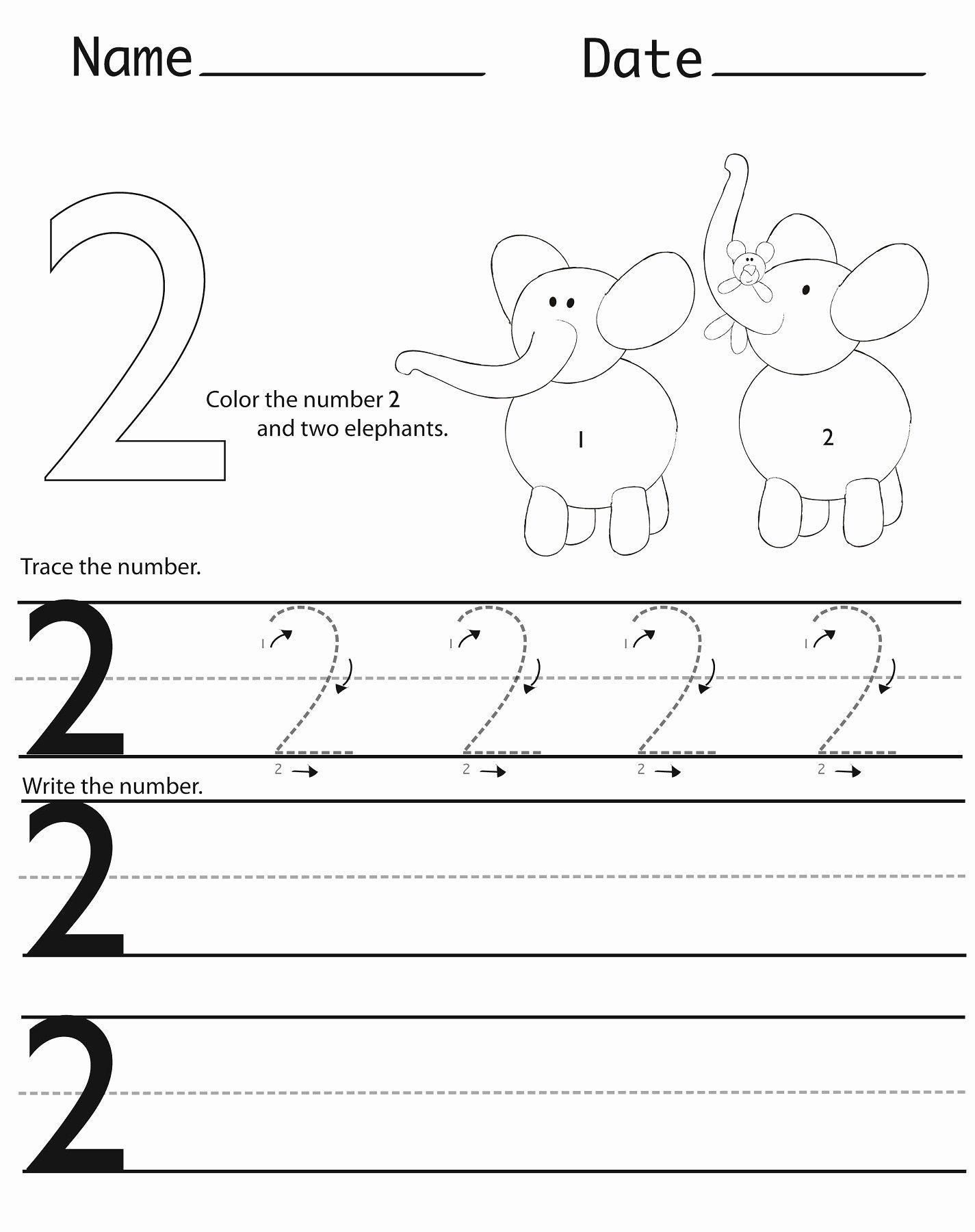 Number 2 Worksheets for Preschoolers Awesome Writing Numbers Worksheets Printable