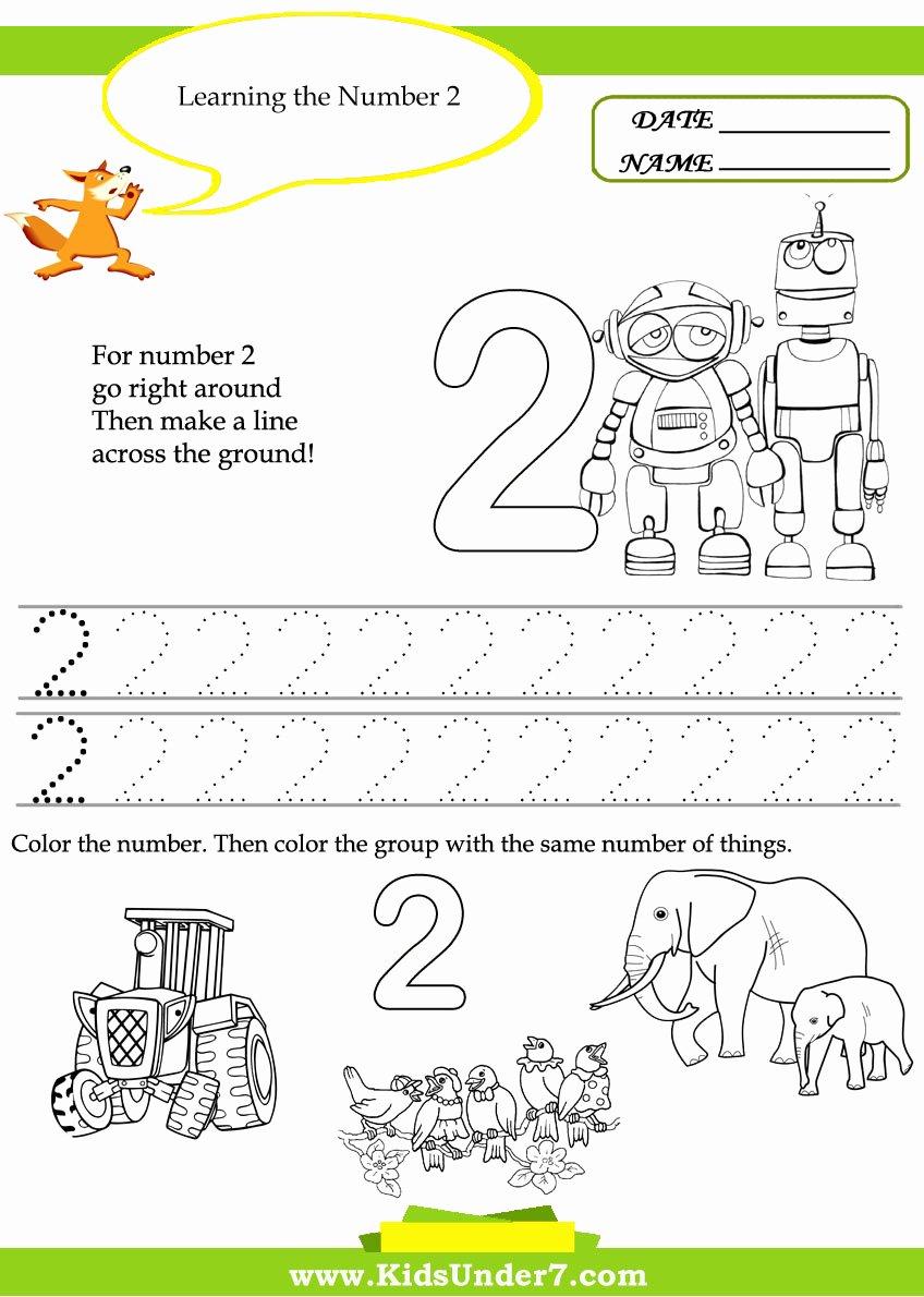 Number 2 Worksheets for Preschoolers Beautiful Worksheet Kindergarten Worksheets Kids Under Free