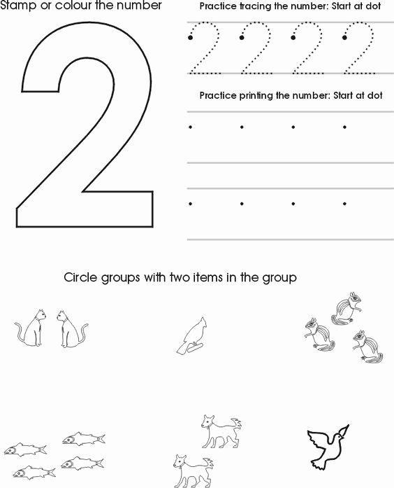 Number 2 Worksheets for Preschoolers Inspirational Number Two Worksheet Free Preschool Printable
