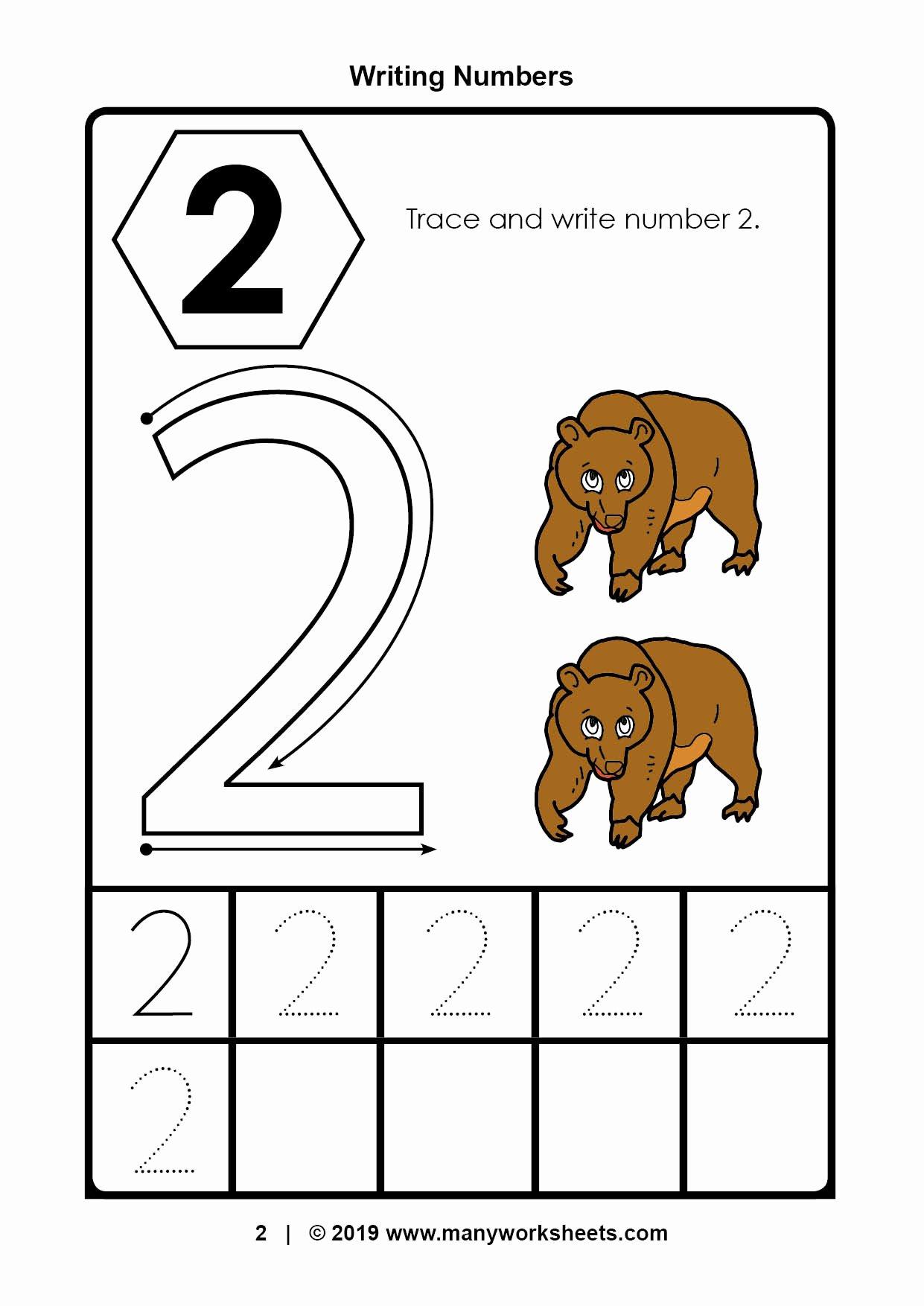 Number 2 Worksheets for Preschoolers Inspirational Tracing Number Worksheets for Kindergarten Preschool Ratio