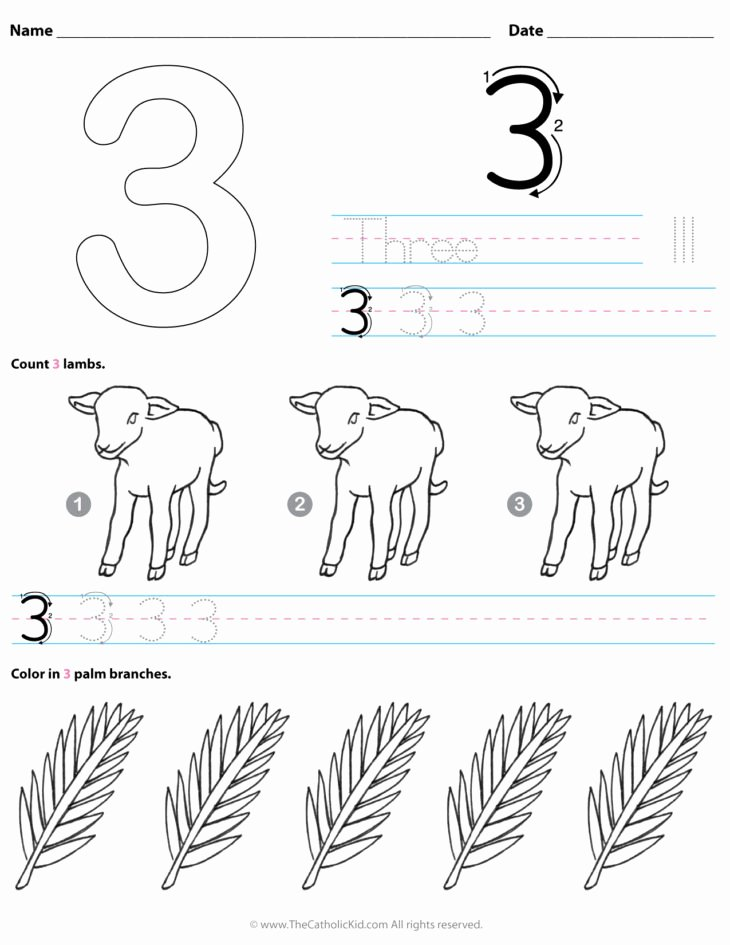 Number 3 Worksheets for Preschoolers Beautiful Archives the Catholic Kid Coloring and Games Number