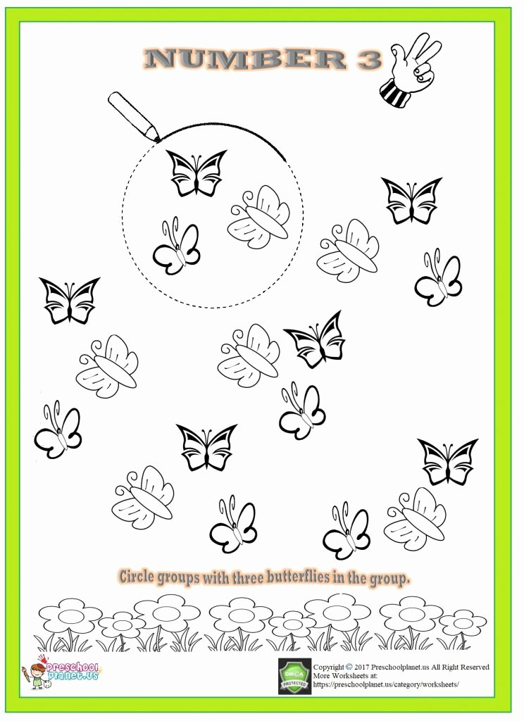 Number 3 Worksheets for Preschoolers Inspirational Number 3 Worksheet for Kindergarten – Preschoolplanet