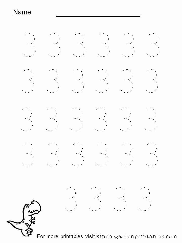 Number 3 Worksheets for Preschoolers Lovely Tracing Number 3 Worksheet