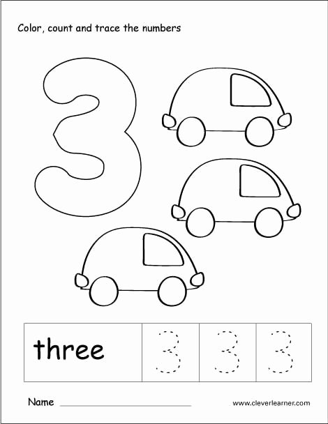 Number 3 Worksheets for Preschoolers New Number 3 Tracing and Colouring Worksheet for Kindergarten