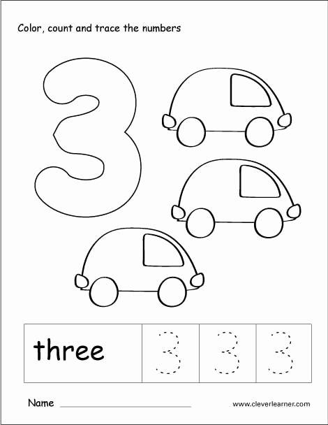 Number 3 Worksheets for Preschoolers New Number 3 Tracing and Colouring Worksheet for Kindergarten