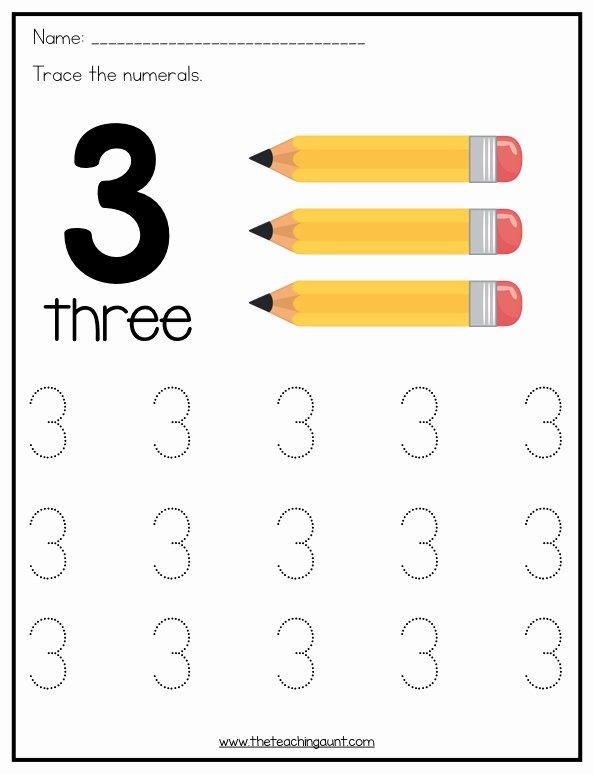 Number 3 Worksheets for Preschoolers New Number Tracing Worksheets for Preschoolers the Teaching Aunt
