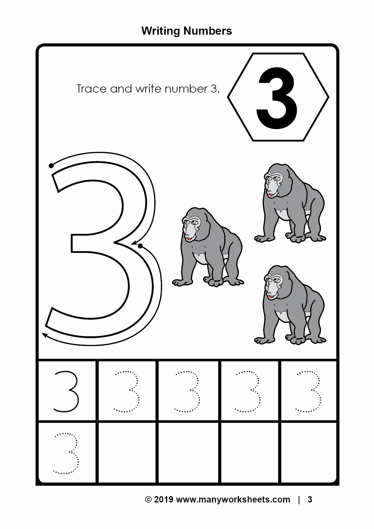 Number 3 Worksheets for Preschoolers New Tracing Number 3 Worksheets for Kindergarten