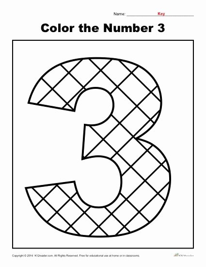 Number 3 Worksheets for Preschoolers top Color the Number 3