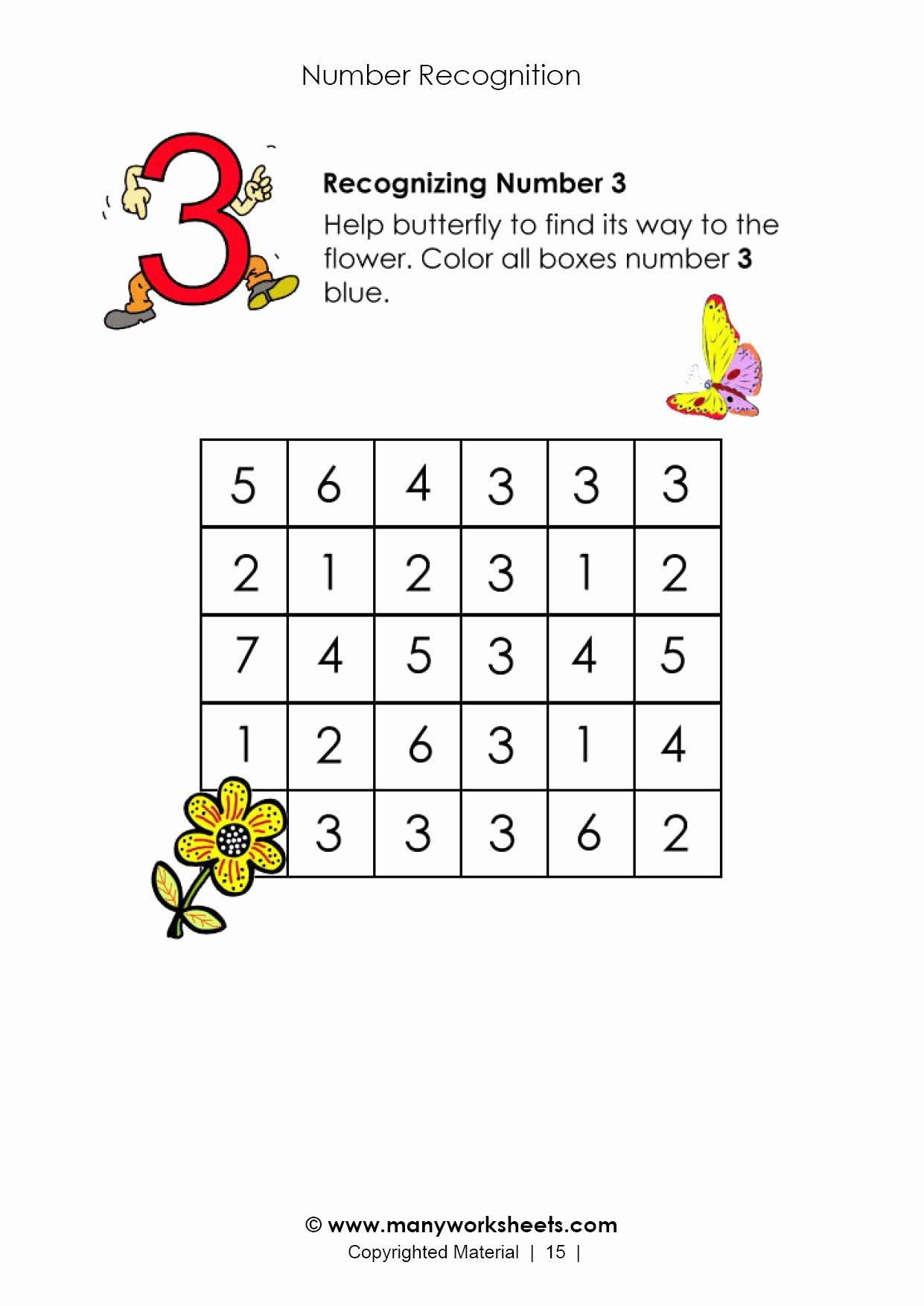 Number 3 Worksheets for Preschoolers top Number 3 Recognition Worksheet