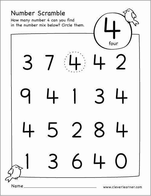 Number 4 Worksheets for Preschoolers Awesome Free Number Scramble Activities for Preschool Kids Numbers