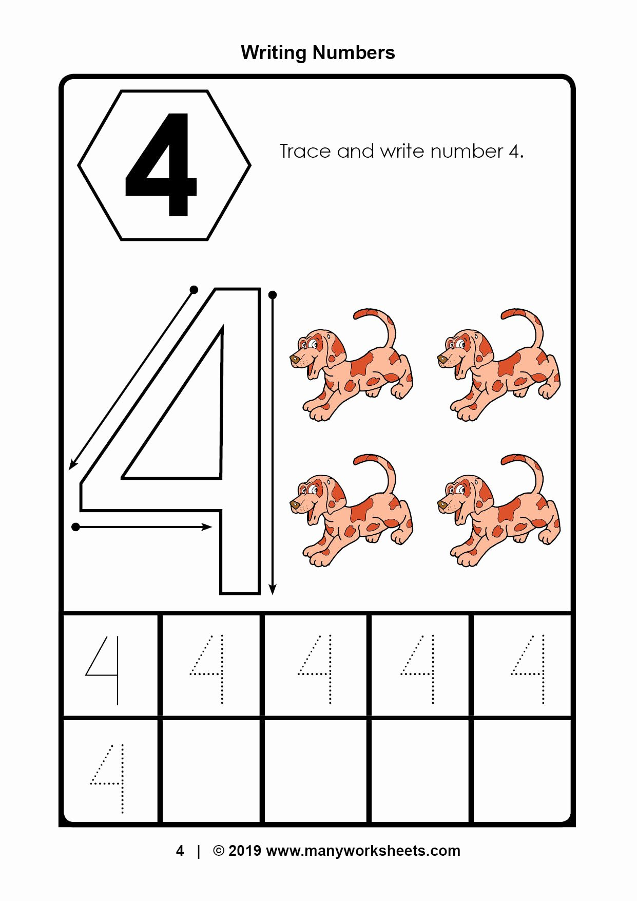 Number 4 Worksheets for Preschoolers Awesome Tracing Number 4 Worksheets for Kindergarten