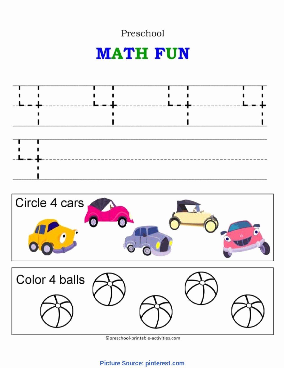 Number 4 Worksheets for Preschoolers Fresh Math Worksheet Math Worksheet Fresh Number Activities for