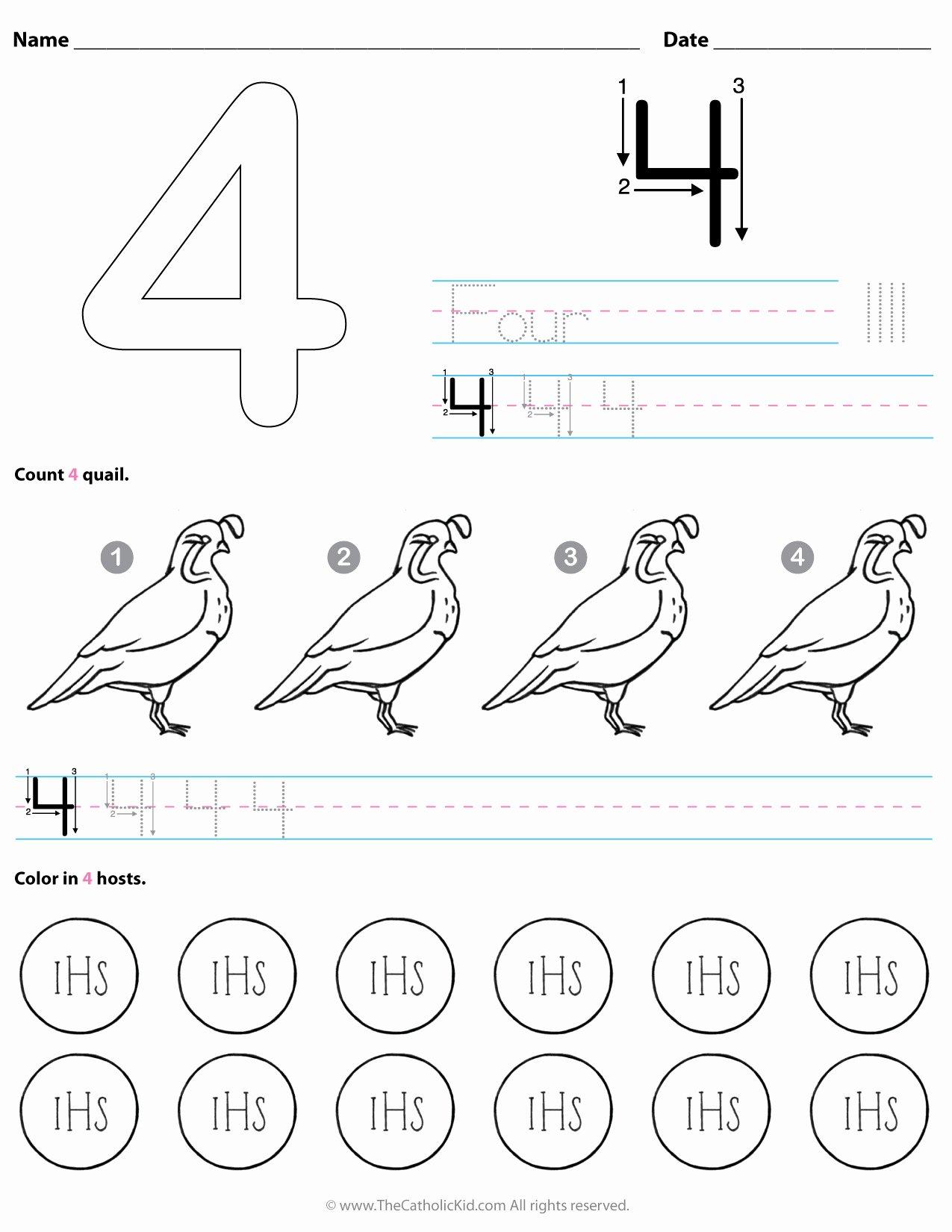 Number 4 Worksheets for Preschoolers Inspirational Catholic Number 4 Worksheet Preschool Kindergarten Coloring