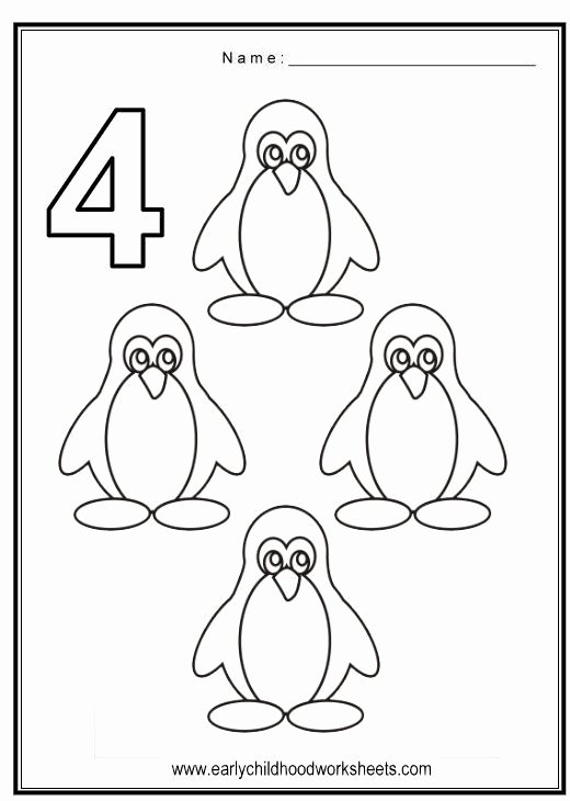 Number 4 Worksheets for Preschoolers Inspirational Coloring Numbers Birds theme