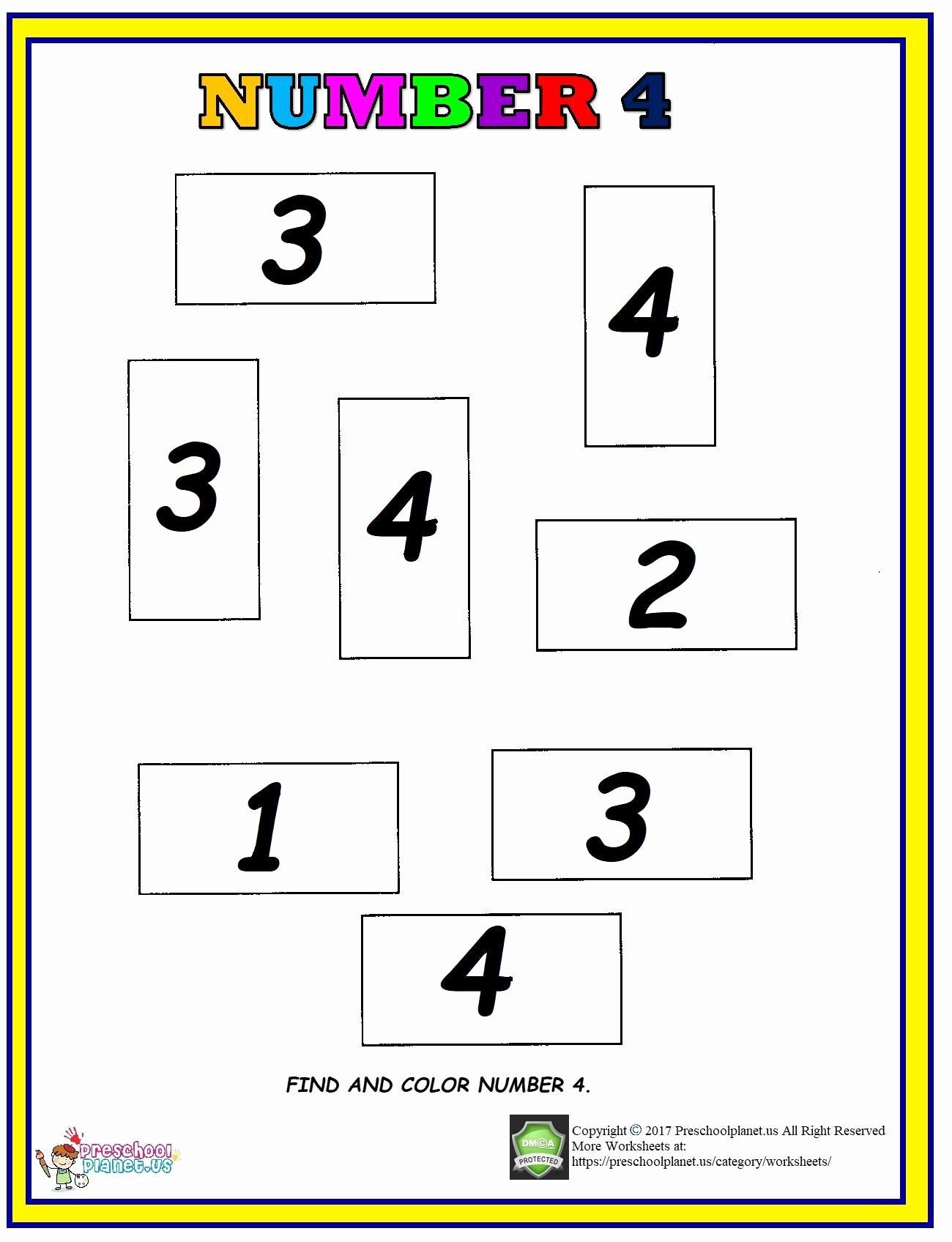 Number 4 Worksheets for Preschoolers Lovely Number 4 Find and Color Worksheet – Preschoolplanet
