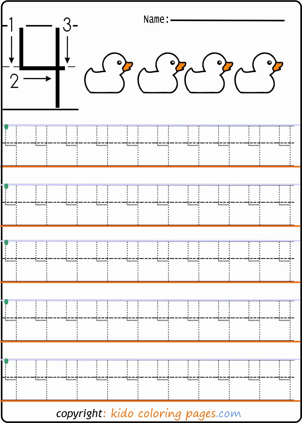 Number 4 Worksheets for Preschoolers Lovely Number Tracing Worksheets for Preschool Kids Coloring Fun