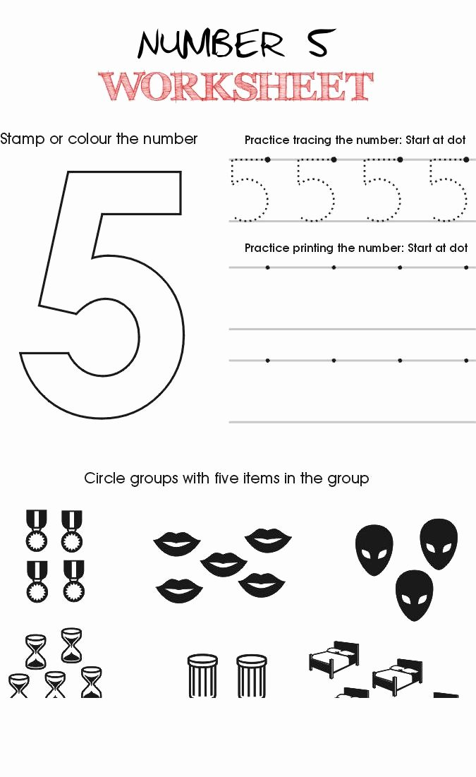 Number 5 Worksheets for Preschoolers Awesome Number 5 Worksheet Kindergarten Preschool Worksheets Number
