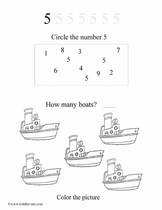 Number 5 Worksheets for Preschoolers Beautiful Free Number 5 Worksheet