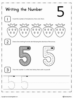 Number 5 Worksheets for Preschoolers Inspirational Learn to Count and Write Number 5