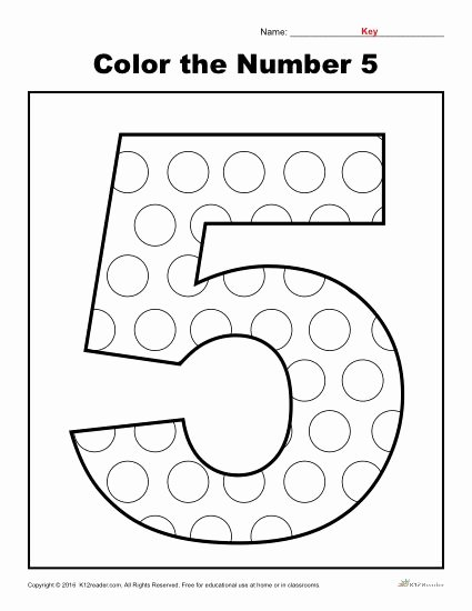 Number 5 Worksheets for Preschoolers Lovely Color the Number Preschool Worksheet Worksheets for Fraction
