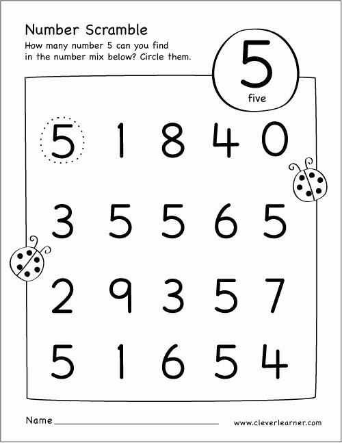 Number 5 Worksheets for Preschoolers Lovely Free Printable Scramble Number Five Activity