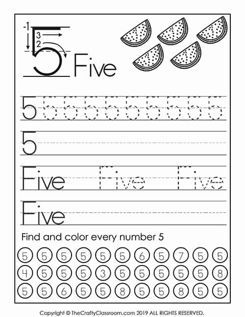 Number 5 Worksheets for Preschoolers Unique Preschool Number Worksheets Mom for Mon Core Math 5th