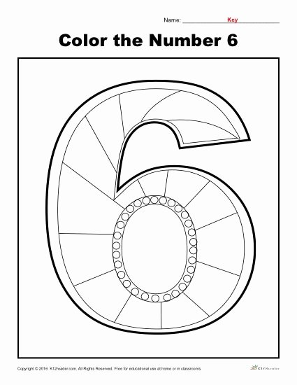 Number 6 Worksheets for Preschoolers Best Of Color the Number 6