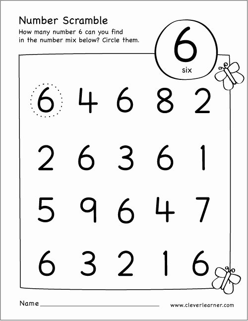 Number 6 Worksheets for Preschoolers Fresh Free Printable Scramble Number Six Activity