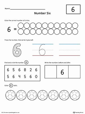 Number 6 Worksheets for Preschoolers Fresh Number 6 Practice Worksheet
