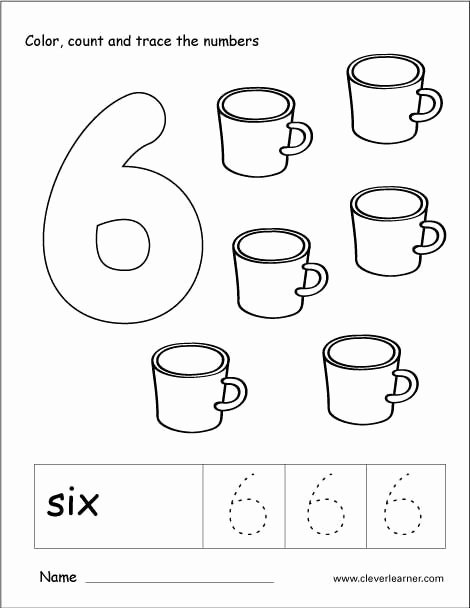 Number 6 Worksheets for Preschoolers Inspirational Number 6 Tracing and Colouring Worksheet for Kindergarten