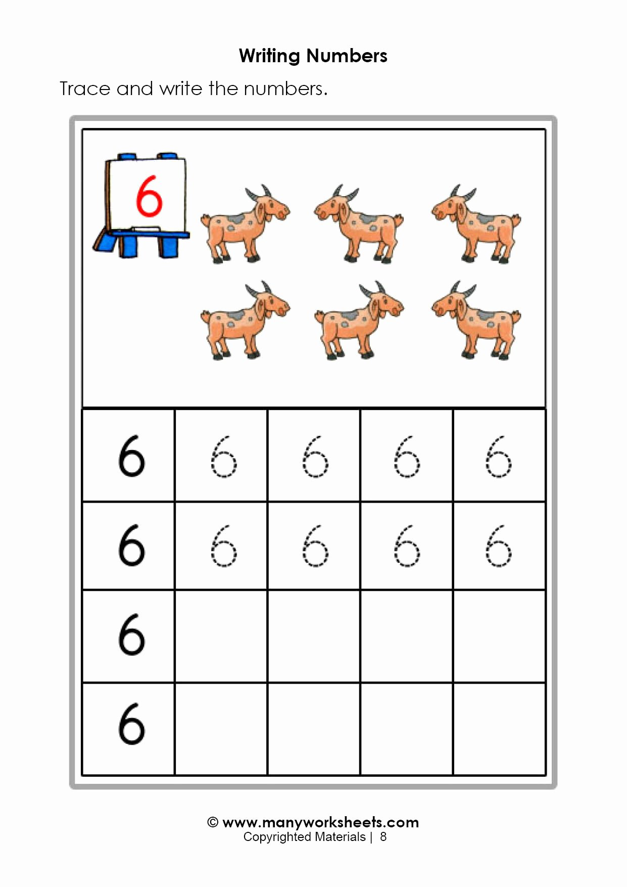 Number 6 Worksheets for Preschoolers Inspirational Tracing and Writing Number 6