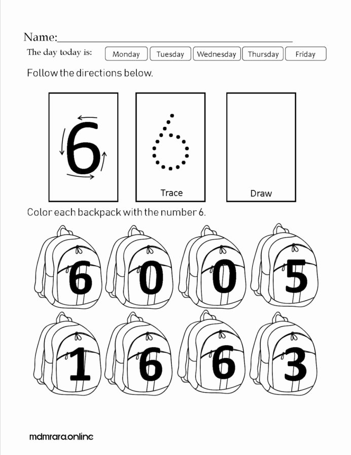 Number 6 Worksheets for Preschoolers Unique Recognizing Numbers Worksheet Printable Worksheets and