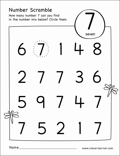 Number 7 Worksheets for Preschoolers Awesome Free Printable Scramble Number Seven Activity