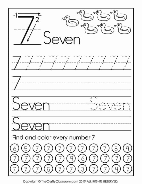 Number 7 Worksheets for Preschoolers Awesome Preschool Number Worksheets Preschool Mom