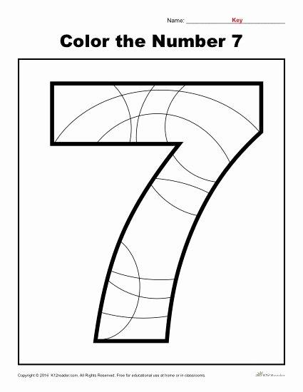 Number 7 Worksheets for Preschoolers Fresh Color the Number 7