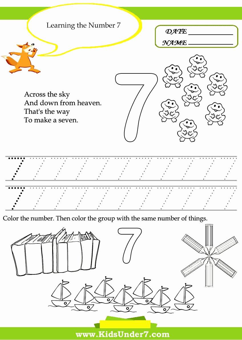 Number 7 Worksheets for Preschoolers Fresh Number 7 Worksheet Practice Kids Under 7 Free Printable