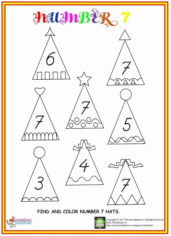 Number 7 Worksheets for Preschoolers Lovely Find Number 7 Worksheet – Preschoolplanet