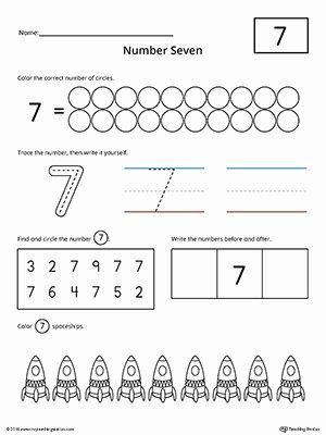 Number 7 Worksheets for Preschoolers Unique Number 7 Practice Worksheet