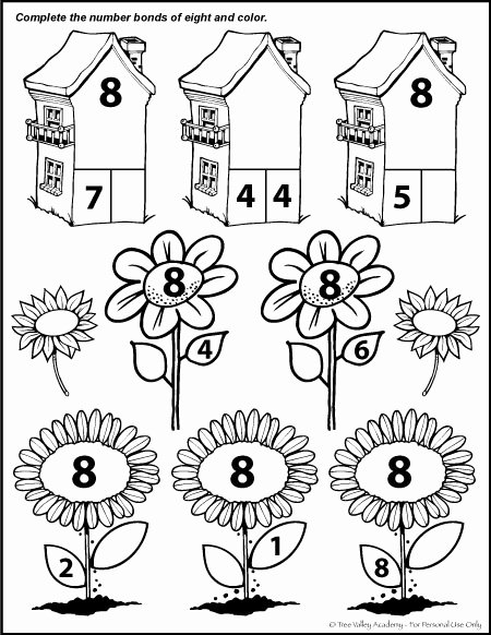 Number 8 Worksheets for Preschoolers top Number Bonds to 8 Free Math Worksheets