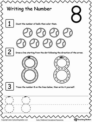 Number 8 Worksheets for Preschoolers Unique Learn to Count and Write Number 8