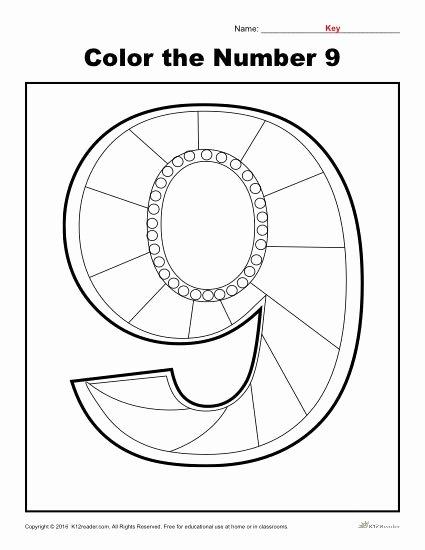 Number 9 Worksheets for Preschoolers Best Of Color the Number 9