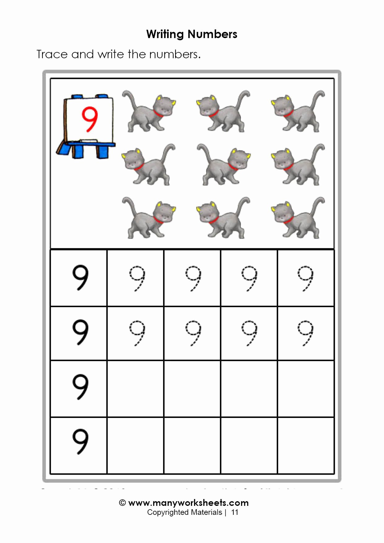 Number 9 Worksheets for Preschoolers Best Of Tracing and Writing Number 9
