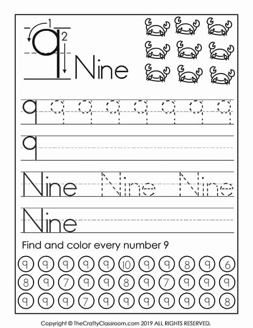 Number 9 Worksheets for Preschoolers Inspirational Preschool Number Worksheets Preschool Mom