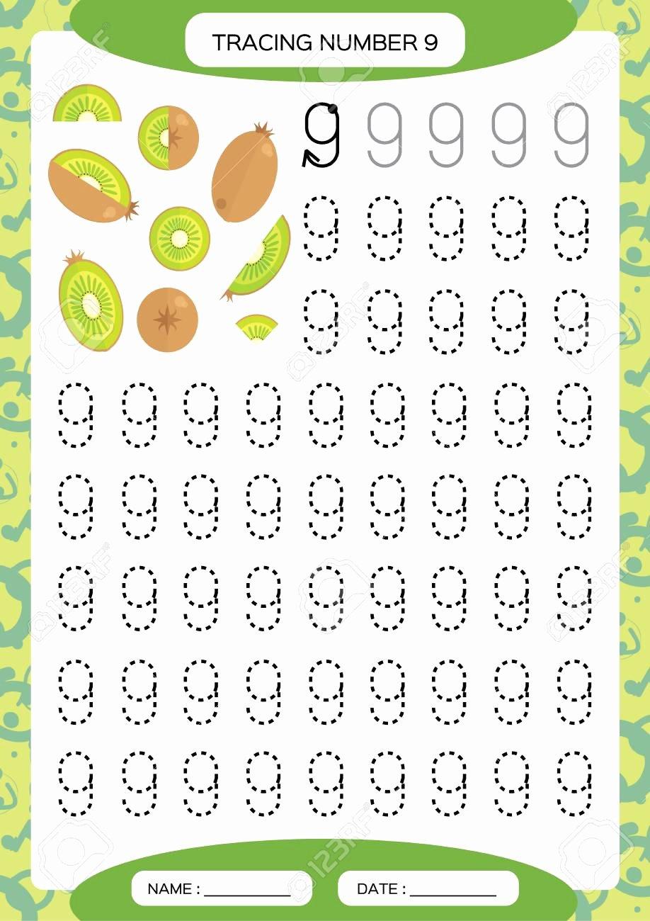 Number 9 Worksheets for Preschoolers New Number 9 Nine Tracing Worksheet for Kids Watermelon Preschool