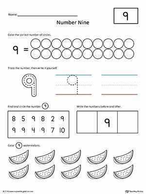 Number 9 Worksheets for Preschoolers Unique Number 9 Practice Worksheet