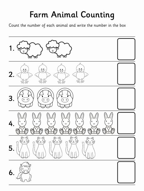 Number Counting Worksheets for Preschoolers New Farm Animal Counting Worksheet