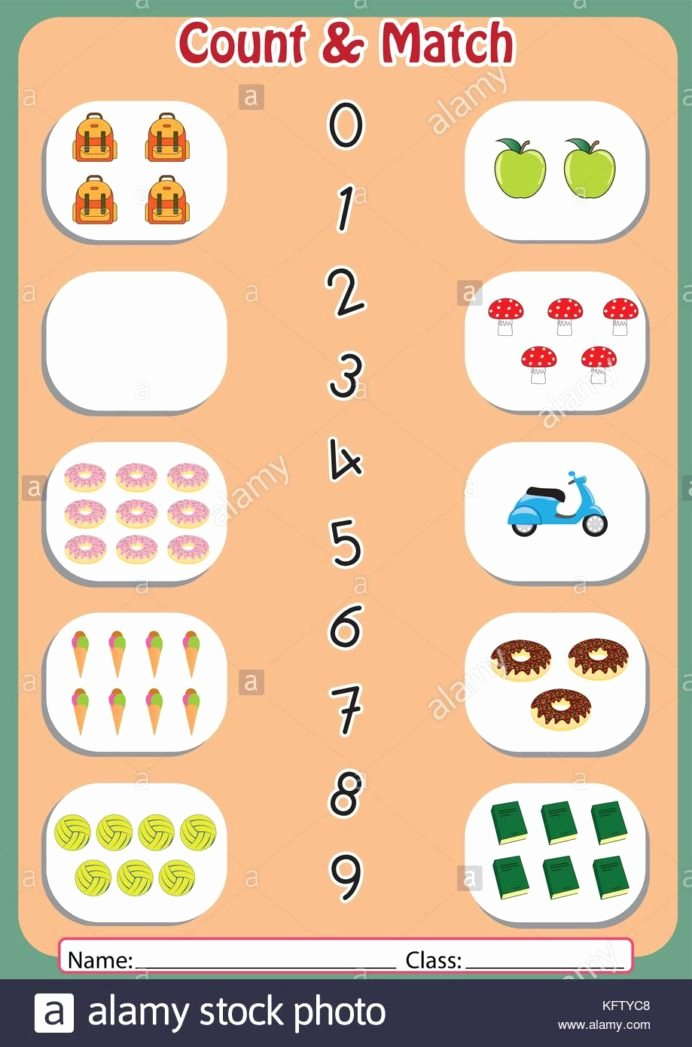 Number Matching Worksheets for Preschoolers Beautiful Match the Numbers to Objects Worksheet for Preschool Stock