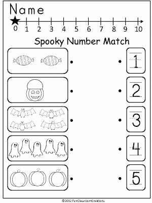 Number Matching Worksheets for Preschoolers New Halloween Number Match Madebyteachers