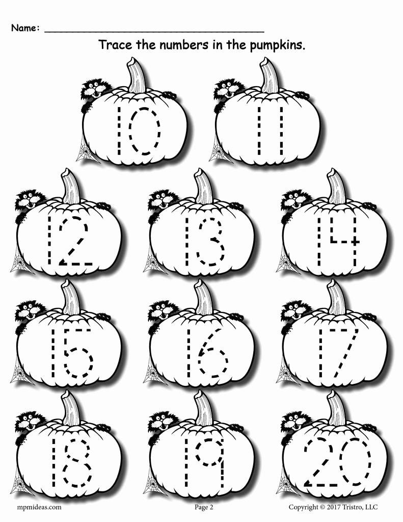 Number Tracing Worksheets for Preschoolers top Printable Pumpkin Number Tracing Worksheets 1 20