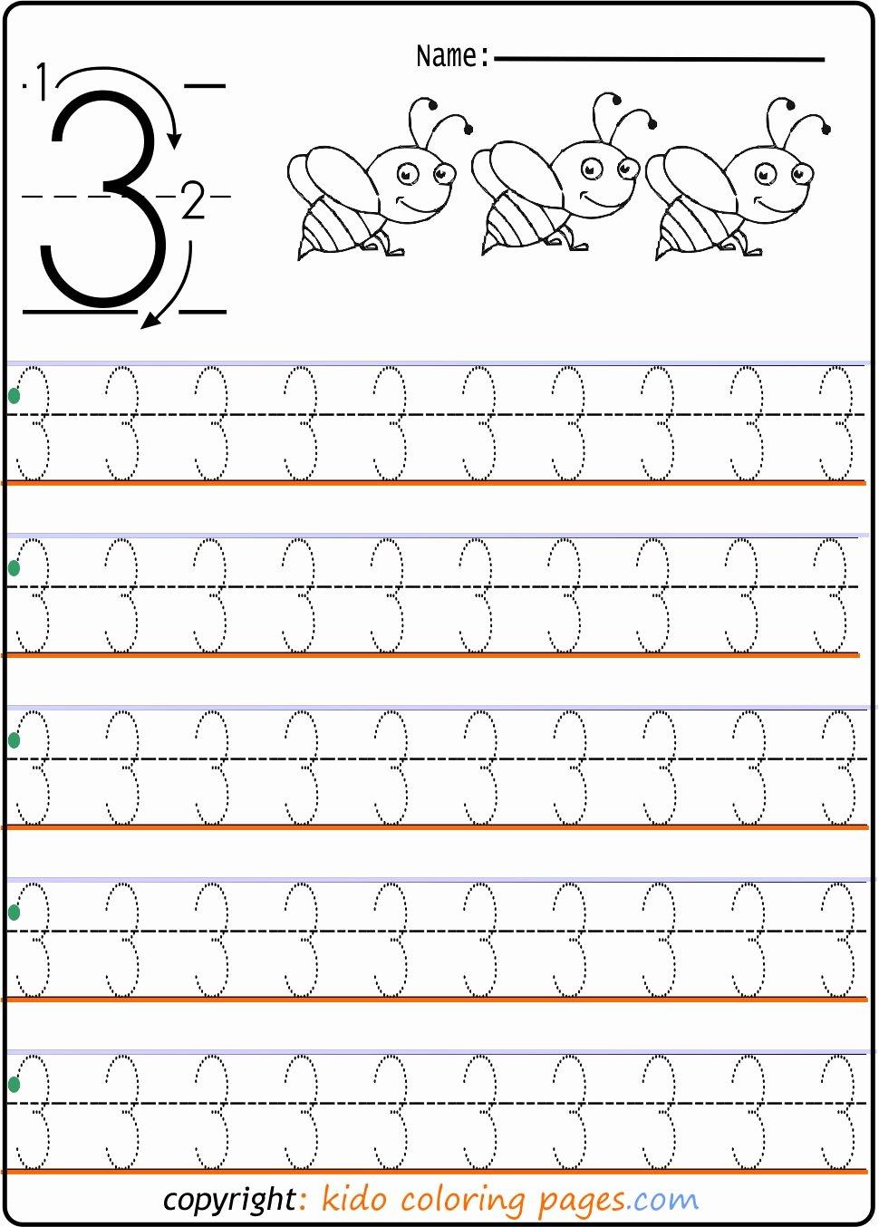 number tracing worksheets 3 for kindergarten kids coloring